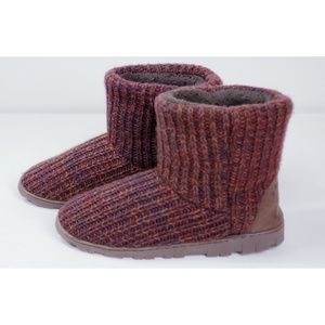 Muk Luks Knit Sweater Multi Brown Suede Bootie